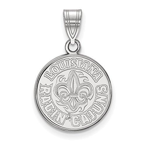 14k White Gold LogoArt Official Licensed Collegiate University of Louisiana (UL) at Lafayette Medium Pendant by Logo Art