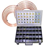 Brake Line Coil and Fitting Assortment Kit, 3/16'' x 25', 1/4'' x 25'