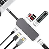USB C Hub, SILIFUN 7 in 1 Thunderbolt 3.1 USB C Adapter USB C to USB 3.1 Gigabit Ethernet Port + 4K HDMI + 2 x USB C 3.0 Ports + PD-Power + SD/TF Card Reader - 10 Gbps for New Macbook (Gray)