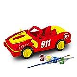 Bfun Woodcraft 3D Puzzle Assemble and Paint DIY Toy Kit, Racing car