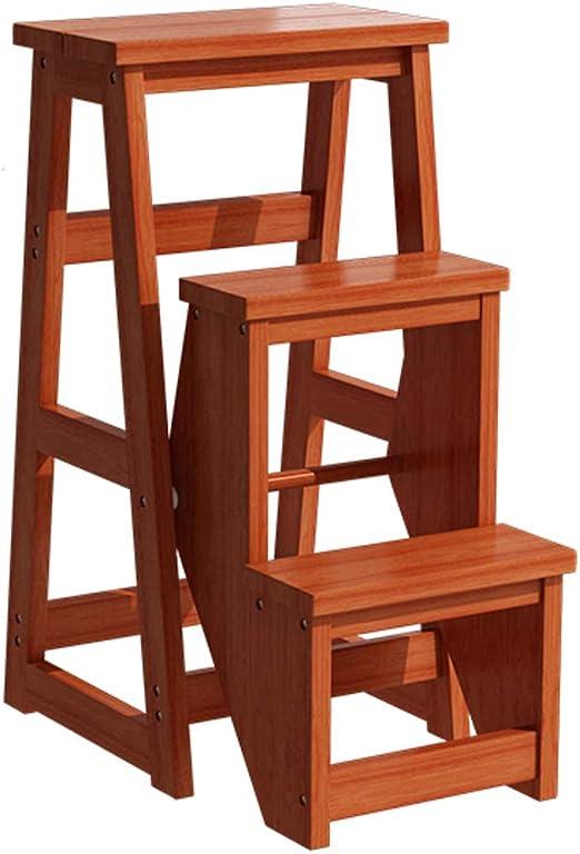 Escalera Plegable de Madera de 3 escalones Escalera Plegable para la Biblioteca de la Cocina en casa Escalera Ascendente Escalera Multiusos Herramienta de decoración Carga máxima 130 kg - Negro: Amazon.es: Hogar