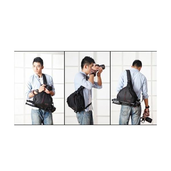 Caden K1 Waterproof Fashion Casual DSLR Camera Bag Case Messenger Shoulder Bag per Canon Nikon Sony (Nero) 4 spesavip