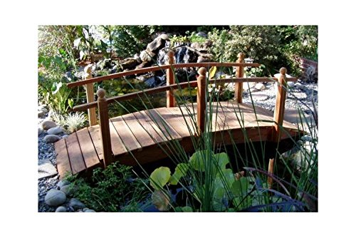 Single Rail Garden Bridge (10 ft. Single Rail Redwood Garden Bridge (10 ft. Single Rail Sealed w Lights))