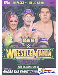 2018 Topps WWE Road to Wrestlemania EXCLUSIVE Factory Sealed Retail Box with RELIC Card! Look for Cards & Autographs of WWE Superstars including Jon Cena, Roman Reigns, Brock Lesner & More! Wowzzer!