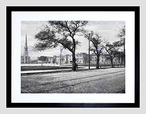 THE CITADEL MARION SQUARE CHARLESTON SC 1900 OLD BW BLACK FRAME FRAMED ART PRINT PICTURE + MOUNT B12X1108 -