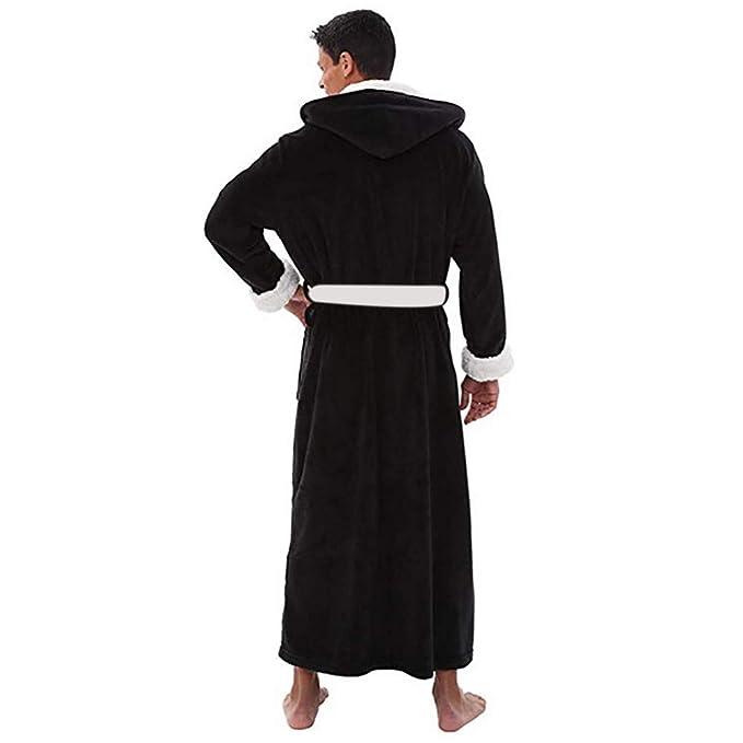 ZYUEER Peignoir pour Hommes -Chaud et Doux Luxe Polyester Peignoir de Bain,  Souple Robe de Chambre Pas Cher (Noir, XL)  Amazon.fr  Vêtements et  accessoires 247e02e39677