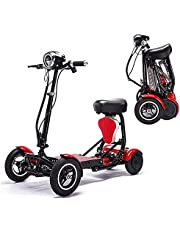 Folding 4-Wheel Mobility Scooters with Seat, Lightweight Electric Mobility Scooter for Elderly/Disabled/Adults, Portable Travel Scooter, 3 Speed Shift Switch