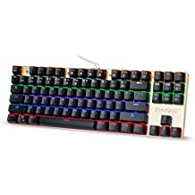 Teamwolf 87 Key Mechanical Gaming Keyboard with Blue Switches, LED Backlit Anti-ghosting Keys for PC & Mac Gamer(Black)