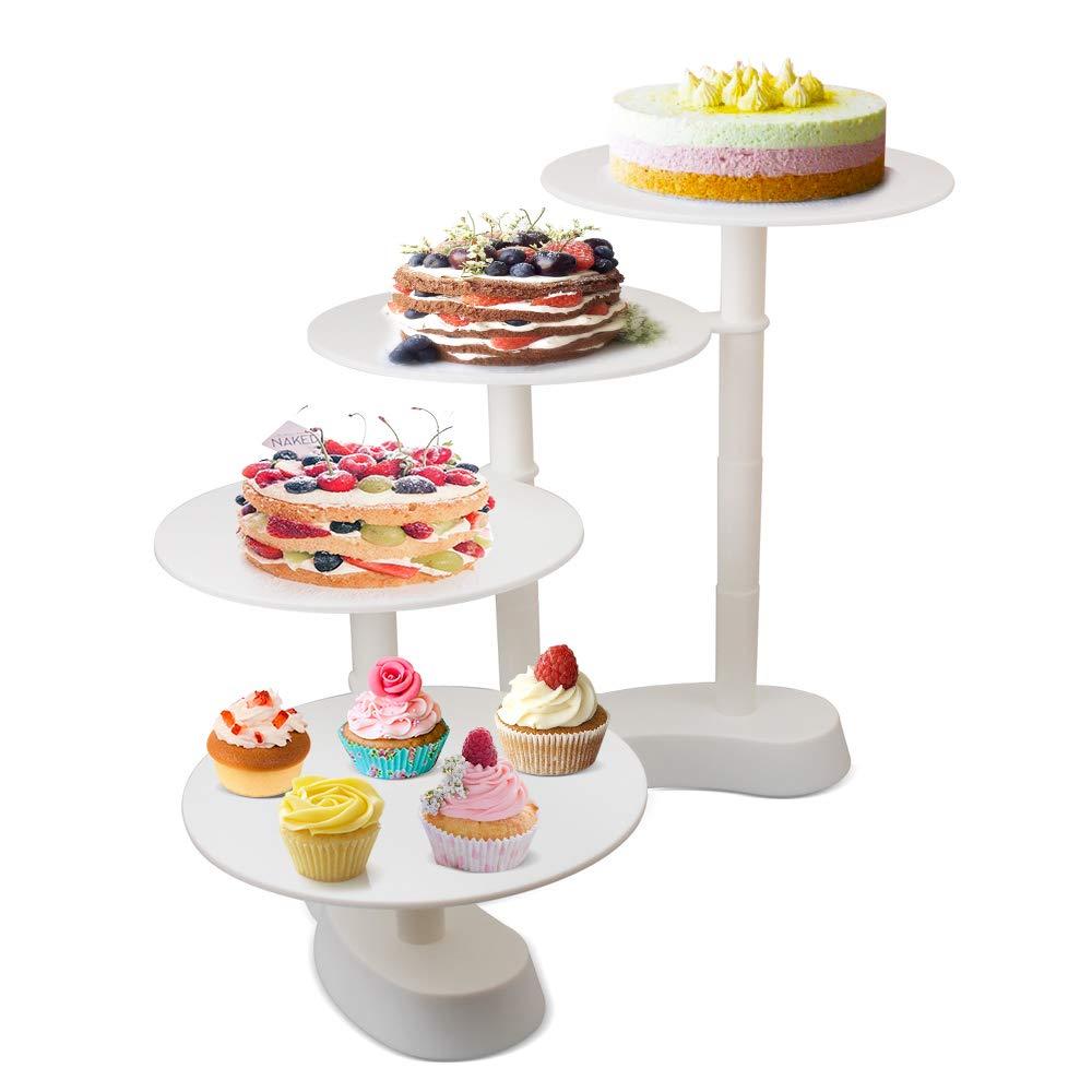 YAOBLUESEA Alzata Torta 3 Piani Supporto Torta Smontabile Supporto per Dolci Cupcake Cake Partito Nozze, Piatti Ø 27, 5 cm