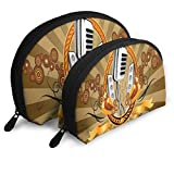 Makeup Bag Vintage Retro Music Theme Musical Microphone Portable Half Moon Cosmetic Bags Case For Women