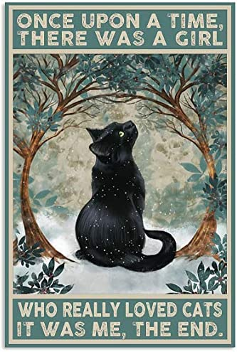 Amazon Com Black Cat Once Upon A Time There Was A Girl Who Really Loved Cats It Was Me The End Poster Gift For Women Men On Birthday Xmas Art Print Size 11 X17