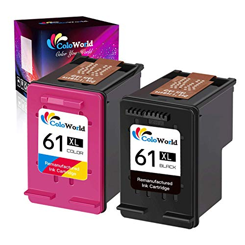 ColoWorld Remanufactured 61XL Ink Cartridges Combo Pack Replacement for HP 61XL 61 XL use with OfficeJet 2622 Envy 4500 5530 5534 Deskjet 3050 3050A 3060 3000 3054 1051 Printer (1 Black, 1 Tri-Color) (Hp Deskjet 1010)