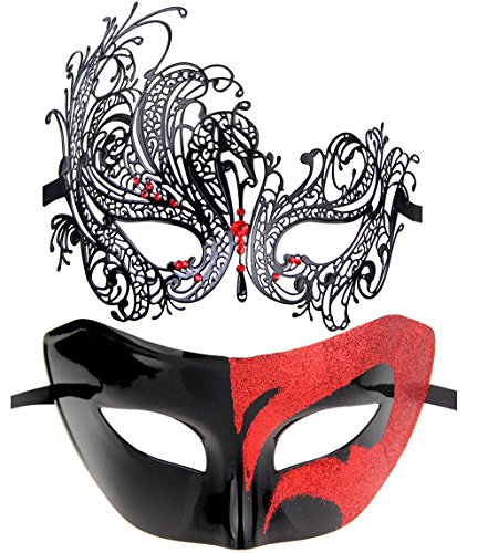 Couples Pair Half Venetian Masquerade Ball Mask Set Party Costume Accessory (red)