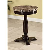 ADF Round Table Marble Veneer Top and Espresso Base