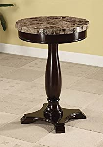 Great ADF Round Table Marble Veneer Top And Espresso Base