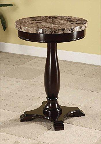 ADF Round Table Marble Veneer Top and Espresso Base (Marble Espresso Top)