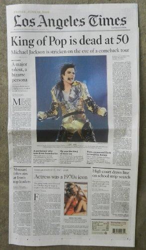LA Times Death of Michael Jackson and Farrah Fawcett Los Angeles Newspaper June 26, 2009