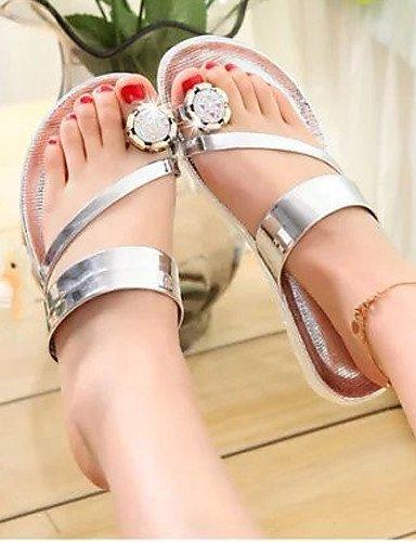ShangYi Women's Shoes Faux Leather Flat Heel Flip Flops Sandals Outdoor/Dress/Casual Black/Red/White Silver nyEky4Hyj