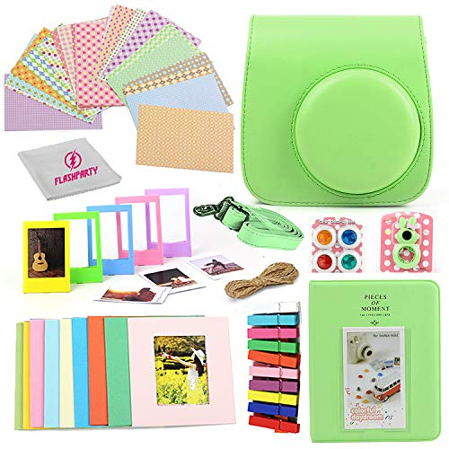 Camera Case for Fuji instax Mini 9 and Mini 8 Instant Camera + 20 Assorted Border Stickers + Colorful Picture Frames + Photo Album + Selfie Mirror + 4 Color Filters + More Accessories. (Lime Green)
