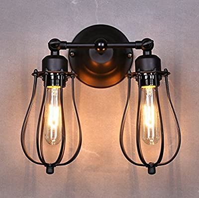 Lightess Vintage Industrial Adjustable 2 lights Wall Sconces Marconi Style Black Mini Wire Cages