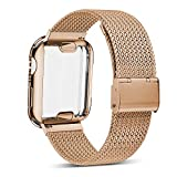 YC YANCH Compatible with Apple Watch Band 44mm with Case, Stainless Steel Mesh Band with Apple Watch Screen Protector Compatible with iWatch Apple Watch Series 1/2/3/4 (44mm Light Gold)