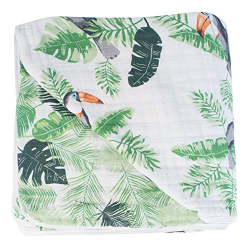 Bebe au Lait Premium Muslin Snuggle Blanket, Rio and Palms