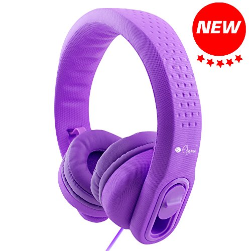 Flexible Girl - Elesound ES-K900 Wired Over Ear Kids Headphones with Microphone and Shareport, 85db Sound Limiting,Food Grade EVA, Safe Soft Adjustable Durable Children Headphones for Kids Girls Boys Child and Ipad