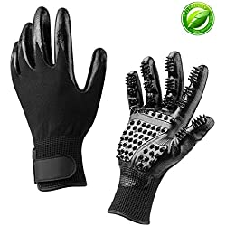 Pet Grooming Gloves, Pet Deshedding Brush Gloves with Adjustable Wrist Strap for Cat, Horse & Dog–Pair of Flexible Brush Mitts petfect for Shedding, Bathing, Massaging & Hair Removal (1)