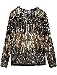 Black & Gold Sequin Blouse See Through Party Top