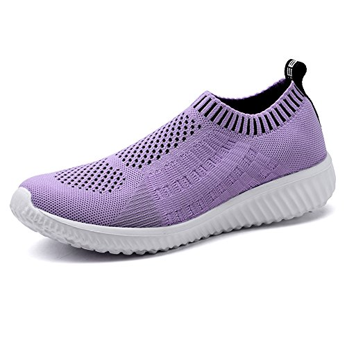 TIOSEBON Women's Athletic Walking Shoes Casual Mesh-Comfortable Work Sneakers 6 US Purple
