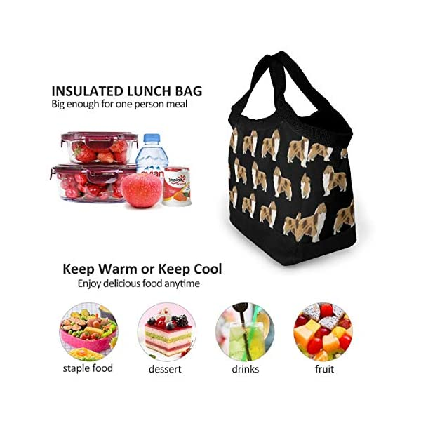 NiYoung Rough Collie Dog Lunch Bags Insulated Lunch Tote Bag Large Reusable Lunch Box Portable Lunchbox Lunch Organizer Lunch Holder for Women Men Kids 4