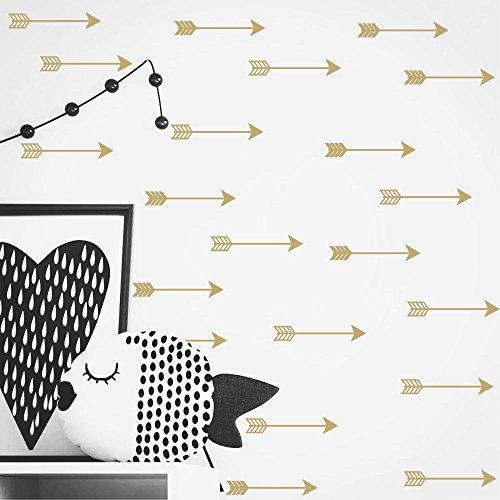 Set of 24 Arrow Pattern Wall Sticker Tribal Arrow Decals Vinyl Kids Nursery Bedroom Decoration Wallpaper YYU-9 (Gold)