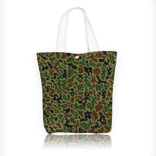 (Reusable Cotton Canvas Zipper bag Summer Camouflage Pattern Grungy Texture Hidden in Jungle Retro Style Khaki Green Brown Tote Laptop Beach Handbags W11xH11xD3 INCH)