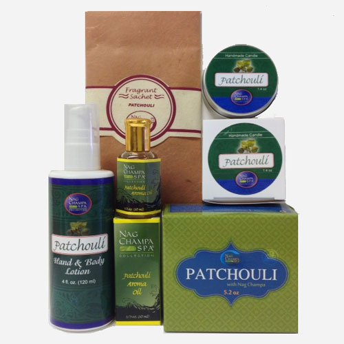 Patchouli Lover's Spa Gift Set- Lotion, Soap, Oil, Candle & Sachet.