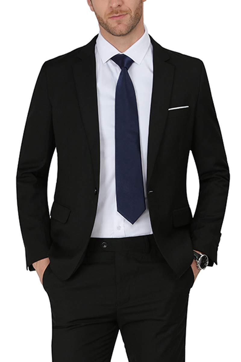 MAGE MALE Men's Solid Blazer Slim Fit Notch Lapel One Button Tuxedo Suit Separate Jacket Coats Black, Small by MAGE MALE