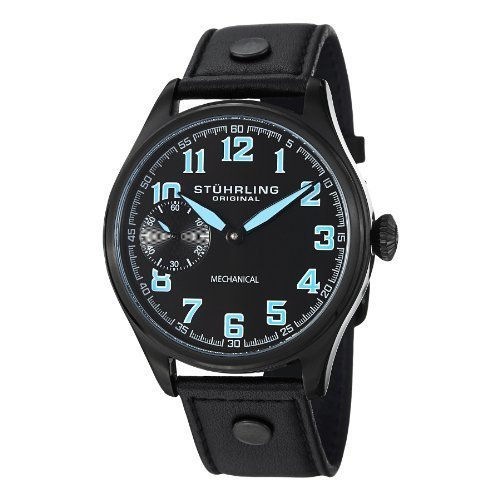 Stuhrling Original Men's 'Aviator' Mechanical Hand Wind Stainless Steel and Black Leather Casual Watch (Model: 457.335551)