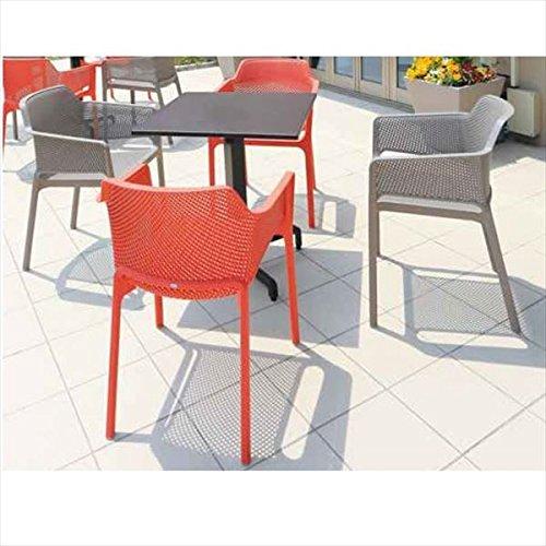 タカショー ピアニ/ネット テーブルチェア5点セット 『ガーデンチェア ガーデンテーブル セット』 ホワイト/トープ B075WVNS7F 本体カラー:ホワイト/トープ