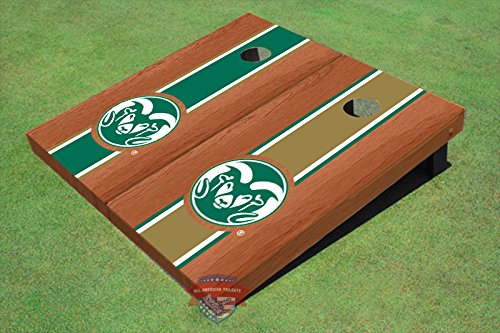 Colorado State University Rams Logo Alternating Rosewood Long Stripe Cornhole Boards CSU 14019 by All American Tailgate (Image #2)