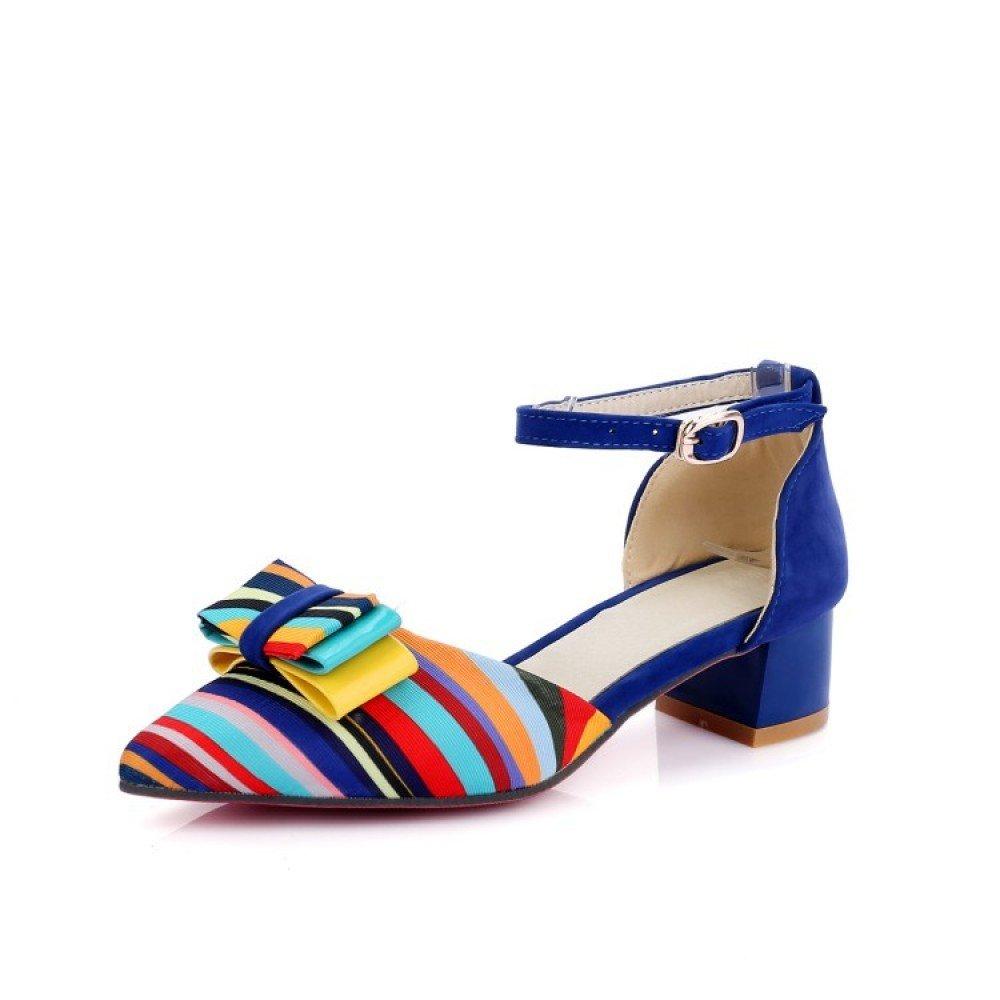 ZHXUANXUAN Damen Knöchelriemen Schuhe Sandalen Damen Strappy Party Schuhe Knöchelriemen Blau 87d085