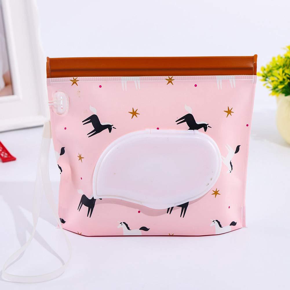 Lingette humide Pouch, Housse Distributeur de lingettes rechargeables pour bébé réutilisable respectueux de l'environnement Pochettes EVA Sac de voyage portable SDYDAY