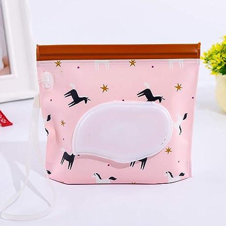 ZAK168 - Bolsa de toallitas Reutilizable y Recargable, autoadhesiva, para bebé, con Soporte