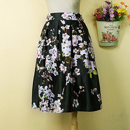 Hrph La moda de primavera y verano de las nuevas mujeres de la alta cintura de los plisados mini una línea Casual patinador impresiones florales de la falda Negro