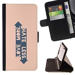 For Sony Xperia Z1 Compact / Z1 Mini (Not Z1) D5503 Case , Peach Flecha Love Hate Arriba Abajo Cita- la tarjeta de Crédito Slots PU Funda de cuero Monedero caso cubierta de piel