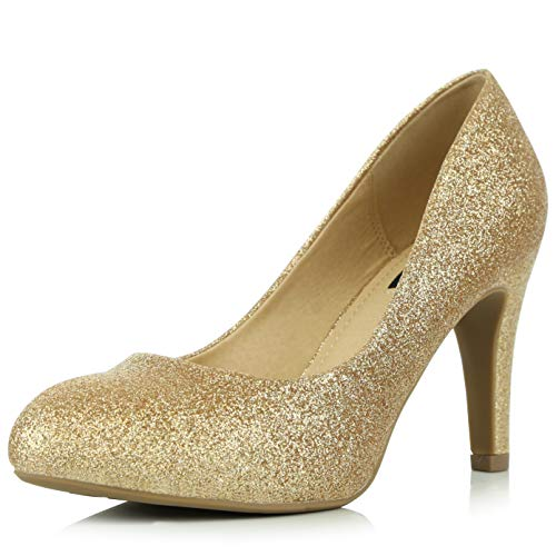 DailyShoes Women's Memory Foam Cushion High Heel Pump Pumps Heels Closed Round Toe Wedding Shoes Fashion Thin Bridal Bridesmaid Ceremony Evening Party Stiletto Gold,gl,5