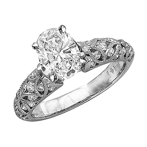 1 Carat 14K White Gold Vintage Channel Filigree Milgrain Oval Cut GIA Certified Diamond Engagement Ring (0.5 Ct H Color SI2 Clarity Center ()