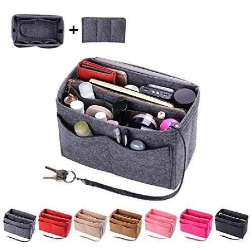Purse Organzier, Bag Organizer with Metal Zipper (Large, Grey)