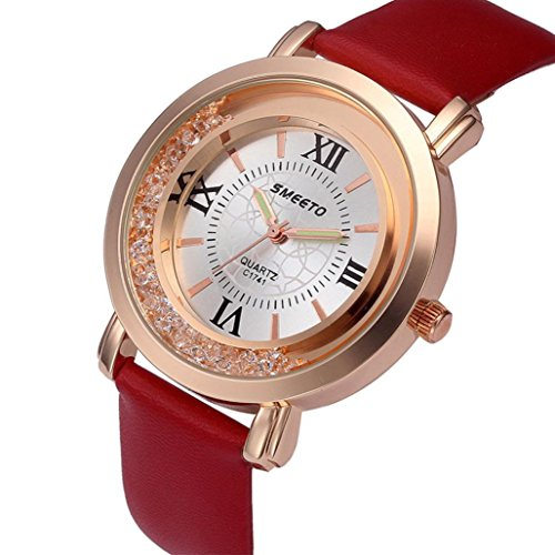 Leedford Watch,Simple Valentines Gift Watches Stainless Steel Dial Leather Band Quartz Analog Wrist Watches for Her (1.57'', Red)
