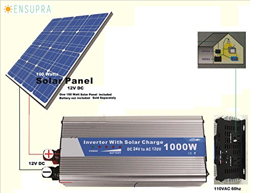 1000 Watt Solar Backup Power Generator, Powered by 100 Watt Solar Panel & 100AH Battery; For Off-grid and Back-up Power ;30% Federal Tax Credit