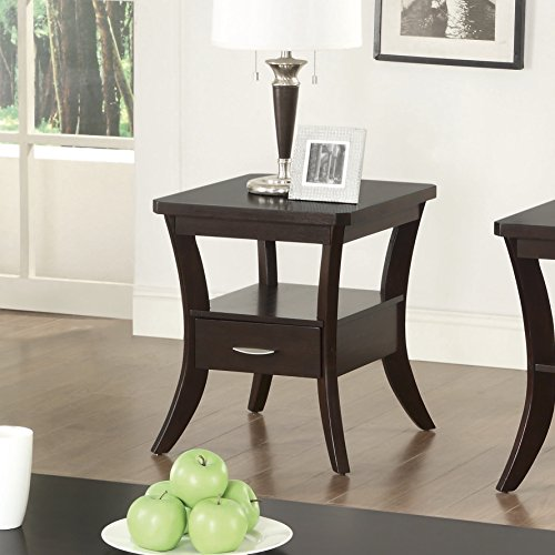 (Coaster Occasional Group Transitional Espresso Flared Leg End Table with Drawer)