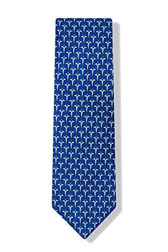 (Men's 100% Silk Blue Caduceus Medical Doctor Necktie Tie Neckwear )